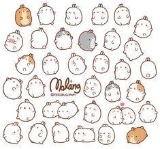 Molang Is so cute I can't handle it! Manga Kawaii, Kawaii Chibi, Kawaii Illustration, Kawaii Doodles, Cute Doodles, Kawaii Stickers, Cute Stickers, Journal Stickers, Planner Stickers