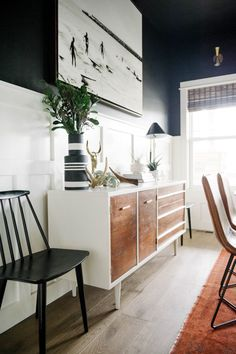 Black dining room |