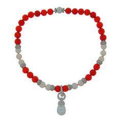 David Webb 1980s Pearl Coral Diamond Platinum Detachable Necklace