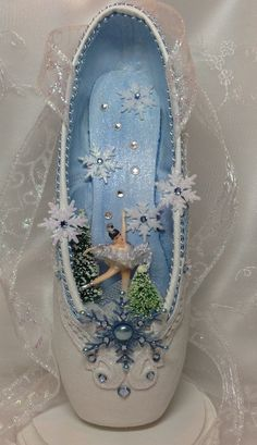 Spectacular Snow Queen decorated pointe shoe centerpiece. Nutcracker Snow Queen…
