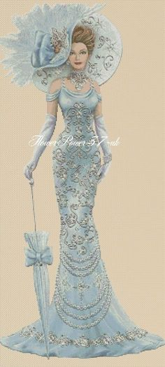 Cross stitch chart Elegant Lady 156 full length Flowerpower37-uk | eBay