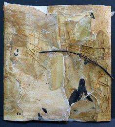 Francine Vernac (Quebec) - mixed media; Jouer avec le temps LX (couverture avant)  Collages, empreintes, encre, lettrage, métal et fil de laiton Livre d'artiste 1/1, 2013