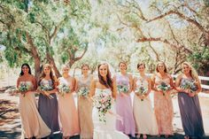 Multicolored Bridesmaid Dresses, Rustic Neutral Bouquets // LVL Weddings & Events // Photography: Tyler Branch Photo // Videography: EK Media Productions // Catering: Above it All Catering // Venue: Private Estate, Rancho Palos Verdes // Rentals: Signature Party Rentals // Floral Design: Green Leaf Designs // Beauty: Design Visage // DJ: Steve Burdick Events // Transportation & Valet: VIP Limousines & Coaches