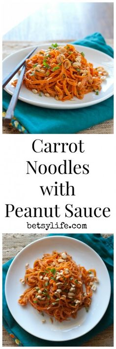 Raw Carrot Pasta with Peanut Sauce. A healthy recipe you won't even realize is vegetarian