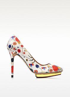 Debbie Kandinsky - Escarpins en Cuir Imprimé Multicolore - Charlotte Olympia