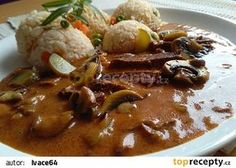 Roštěná - ala Stroganov recept - TopRecepty.cz Healthy Diet Recipes, Cooking Recipes, Food 52, Bon Appetit, Catering, Food And Drink, Menu, Treats, Vegetables