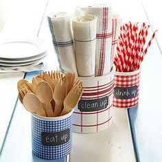 Red, White, and Blue Picnic Servers out of recycled containers and scrapbook paper!