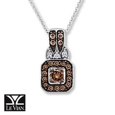 LeVian Chocolate Diamonds 1/2 ct tw Necklace 14K Vanilla Gold