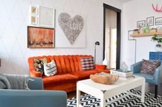 Living Room With Orange Sofa And Eclectic Decor is part of Eclectic Living Room Orange - Living room with orange sofa and white coffee table Living Room Decor Eclectic, Interior Design Living Room, Living Room Designs, Eclectic Kitchen, Interior Paint, Small Living Rooms, Living Room Sets, Living Room Furniture, Sofas Vintage