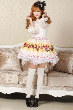 Pleated Yellow Knee-length Lace Sweet Lolita Skirt with Cakes Prints Lolita Fashion $44.00 #Lovejoynet  #Lolita