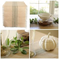 Burlap and Green Runner. Perfect Decor Idea for your Thanksgiving Table decor for Thanksgiving dinner. Thanksgiving Table, Thanksgiving Decorations, Table Decorations, Kitchen Must Haves, Burlap Table Runners, Green Table, Gifts For Cooks, All Things Christmas, Christmas Gifts