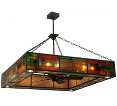 Ceiling Fans With Stained Glass: ceiling fans with stained glass | Stained Glass Ceiling Fan w/ Lighting -  Hausman Chandel,Lighting