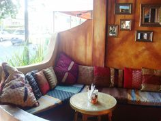Yossi's Restaurant in Glenwood, Durban. A lovely Moroccan vibe and yummy food. Cool Restaurant, Restaurant Ideas, Moroccan, South Africa, Couch, Contemporary, Cool Stuff, Places, Restaurants