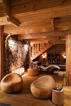 une jolie chalet en bois habitable, maison bois en kit, vie champetre, intérieur rustique en bois massif