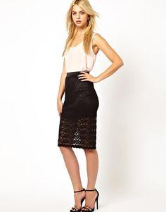 Mina | Mina Lace Pencil Skirt at ASOS