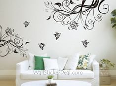 Lovely Flower With Butterfly Wall Stickers