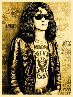Image of Shepard Fairey (Obey Giant) - Tommy Ramone Collage - Gold