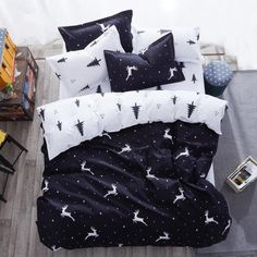 Cheap bedding set, Buy Quality bed set directly from China bedding set Suppliers: Flower fruit Elk bedding sets/bed set/bedclothes for kids bed linen Duvet Cover Bed sheet Pillowcase,twin full queen king Black White Bedding, Black Bed Linen, Striped Bedding, Linen Bedding, Bed Linens, Deer Bedding, Comforter, Geometric Bedding, 3d Bedding