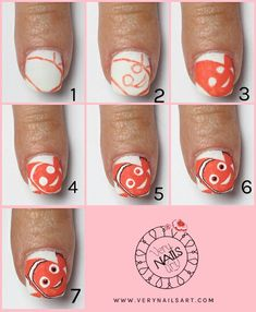 How to make bubbles with One Stroke and Nemo Disney nail art step by step Cartoon Nail Designs, Valentine's Day Nail Designs, How To Make Bubbles, One Stroke Nails, Art Disney, Easter Nails, Fire Nails, Disney Nails, Black Nails