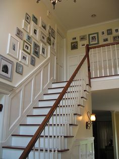 Do you know how much I LOVE these stairs!! Complete class. The wood just needs to be a little darker :) One Day. love collage of photos and beautiful wainscoting