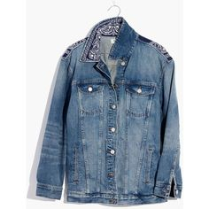 Pre-order Madewell x B Sides™ Oversized Jean Jacket: Bandana Edition ($225) ❤ liked on Polyvore featuring outerwear, jackets, capstone wash, patch jean jacket, blue jackets, denim jacket, oversized denim jacket and oversized jean jacket