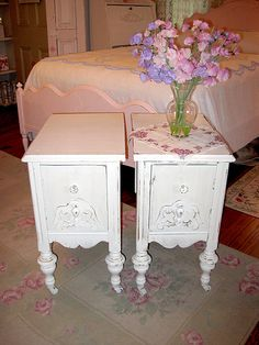 A pair of Shabby chic nightstands