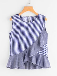 SheIn offers Gingham Frill Tulip Hem Tank Top & more to fit your fashionable needs. Teen Fashion, Fashion Clothes, Fashion Outfits, Blouse Styles, Blouse Designs, Dress Anak, Womens Workout Outfits, Fitness Outfits, Girls Blouse