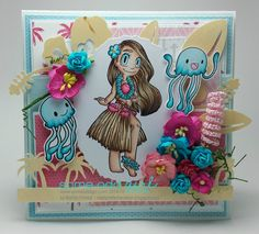 I rarely integrate 2 or more stamps in one card but wanted to give it a try so here is my card using Hula Girl Mae and Jellyfish from Some Odd Girl and ARC Crafts wood papers! These were so fun to work with and they die cut like butter ; Fun Projects, Wood Projects, Hawaiian Theme, Hula Girl, Project Board, Digi Stamps, Real Wood, Clear Stamps, I Card
