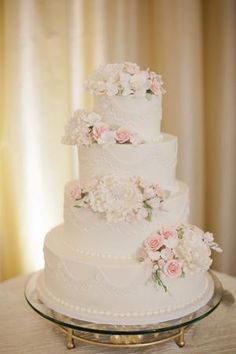 Blush Wedding Cakes, Floral Wedding Cakes, Fall Wedding Cakes, Wedding Cakes With Flowers, Wedding Cake Designs, Blush Weddings, White Weddings, Flower Cakes, Floral Cake