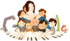 Clara Schumann: Doodle per una delle prime grandi concertiste europee Google Doodles, Google Doodle Today, Google Today, Famous Artists, Classical Music, Art Google, Drawing, Character Design, Brave