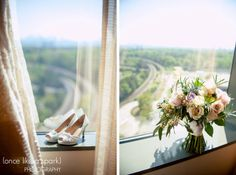 gorgeous view, high heels, bridal shoes, wedding fashion, window sill, wedding flowers, bridal bouquet, floral arrangement, spring wedding, wedding photography :: Kelsey + Ian's Wedding at the Swan House in the Atlanta History Center :: with Nikki
