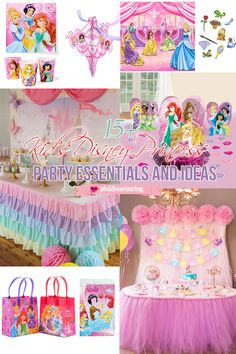 Planning a Disney Princess party? Here are some party essentials and ideas for you. #party #partytheme #disneyprincessparty #pinkheartstring