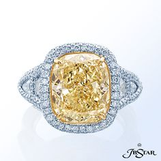 Style 1112 Fancy yellow diamond ring handcrafted with a magnificent 8.06 ct cushion fancy light yellow diamond set in micro pave. Platinum/18KY @jewelsbystar #micropave #fancyyellow #diamond #ring