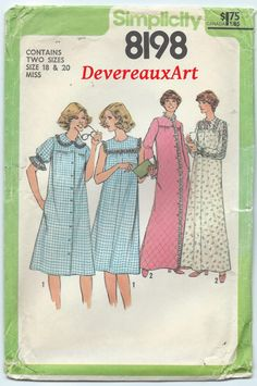 Misses Nightgown Robe Pattern Simplicity 8198 Vintage 1977 Size 14 f416b0c3a