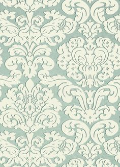 Trelawny Damask Wallpaper This large-scale Trelawny Damask design is a traditional pattern that has been translated to a cleaner shape in 7 versatile colourways, such as this pale aqua.