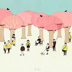"""혜란 , ㅎㄹ , hyeran (@hyeran_think) su Instagram: """". spring . 2013 나만 빼고 봄🌸이구려~허허.. . 나도 벚꽃 봤어! 비오는날에...🌸💦 . . #instadaily #illust #art #illustration…"""""""