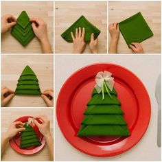 Napkin Shaped Like A Christmas Tree..  DIY --> http://www.prakticideas.com/diy-napkin-shaped-christmas-tree/  ╔═════════════ ೋღ ღೋ ══════════════╗ LIKE SHARE COMMENT FOLLOW ME FRIEND ME ╚═════════════ ೋღ ღೋ ══════════════╝ ┊  ┊  ☆  ┊  ★ ☆ I am excited to connect with others that are working on their health and hope to learn more from you all. Facebook:  www.facebook.com/tennie.keirn  Pinterest: http://www.pinterest.com/footprints1944/  **If you are using the Facebook App on a mobile device…