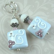 """Precious Bouquet"" : Lamp Work Beads, Swarovski Crystal Sterling Silver Earrings"
