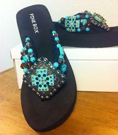 8643dbf2c Handmade Rhinestone Brown Turquoise Flip Flops Bling Sandals
