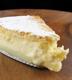 Magic Cake: one simple thin batter, bake it and voila! You end up with a 3 layer cake, w its own custard baked in