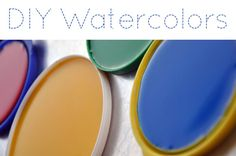 DIY watercolor paints with baking soda, corn starch, white vinegar, corn syrup, and food coloring