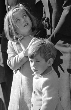 Caroline and JFK Jr. at their father's funeral, 1963.