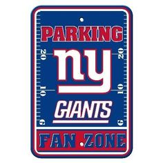"""Show your Giants team spirit proudly with this 12"""" X 18"""" New York Giants Fan Zone Parking Sign. Each 12in x 18in Fan Zone sign is made of durable styrene. The NFL officially licensed parking sign is d"""