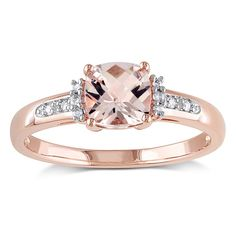 Stun her with beauty with this morganite and diamond accent ring. Crafted of stunningly high polished 10k rose gold, this gemstone pave-set ring is a fashionable look for everyday wear or a beautiful choice for an engagement ring.
