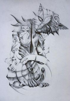 cat tattoo design  by ~vstattoo