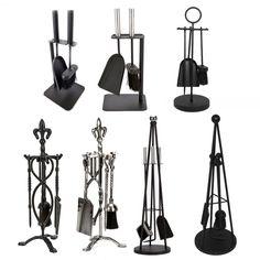 Crafters Companion Set Black Pewter Fireplace Cast Iron Brush Shovel Poker Tools #Inglenook