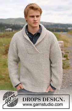 Ravelry: Parker - Jumper for men with shawl collar in Alpaca and Kid-Silk pattern by DROPS design Pull Crochet, Crochet Men, Crochet For Kids, Knitting Patterns Free, Free Knitting, Free Pattern, Crochet Patterns, Shawl Collar Sweater, Men Sweater