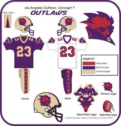 JCrosby Designs : Los Angeles Outlaws (museum) Sports Decals, Sports Logos, Sports Brands, Pro Football Teams, Football Uniforms, Football Helmets, American Football League, Fantasy Football, Best Player
