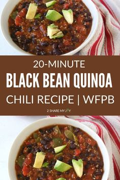 This super quick 20-minute whole food plant based black bean quinoa chili contains less than 10 ingredients, is oil free, soy free, and gluten free. One serving contains 450 calories and over 22 g of plant based protein! Quick Dinner Recipes, Top Recipes, Chili Recipes, Whole Food Recipes, Easy Freezer Meals, Fast Easy Meals, Vegetarian Soup, Vegetarian Recipes, Quinoa Chili