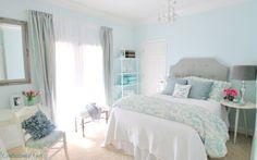 Grey, White & Turquoise Bedroom Interior